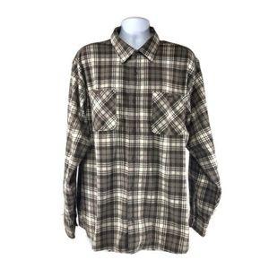 Wrangler Men's 2XL Fleece Brown Plaid Long Sleeve